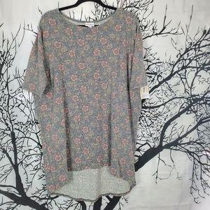 4/$25 LuLaRoe Irma Tunic Grey & Pink Flowers XL